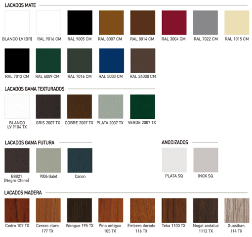 Aluminios garcilaso informaci n colores y acabados del for Colores de perfiles de aluminio