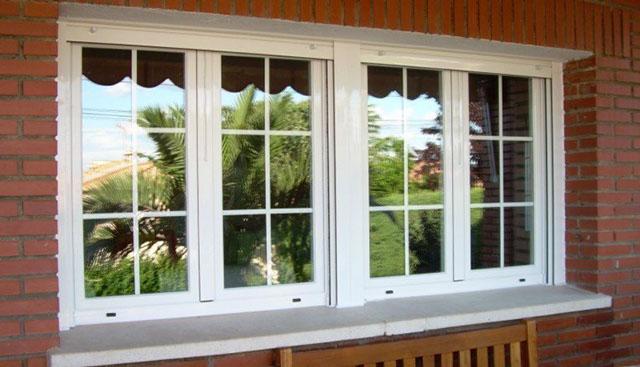 Aluminios garcilaso productos vidrio con barrotillos y for Ventanas de aluminio con marco de madera